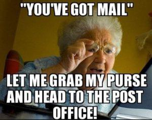 granny going to get email at the post office