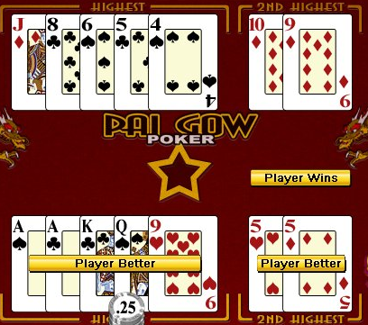 Gameplay for Pai gow poker