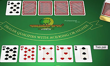 screenshot of the game play for caribbean stud poker