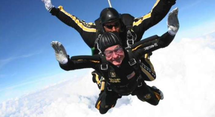 Pick of George h. w Bush skydiving