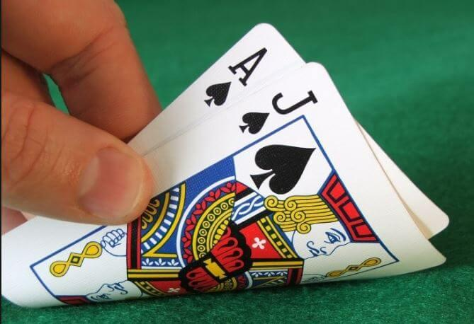 a picture showing a blackjack hand